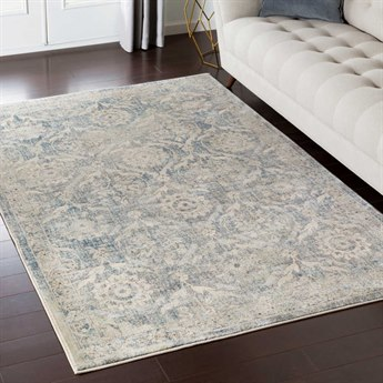 Surya Tharunaya Khaki / Silver Gray Medium Navy Mint Rectangular Area Rug