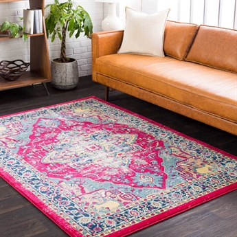 Surya Tharunaya Garnet / Bright Red Aqua Dark Blue Yellow Peach Cream Rectangular Area Rug