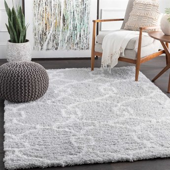 Surya Urban Shag Light Gray / White Rectangular Area Rug