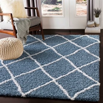 Surya Urban Shag Denim / White Rectangular Area Rug