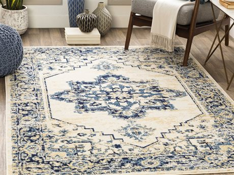 Surya Ustad Wheat / Navy / Denim Rectangular Area Rug