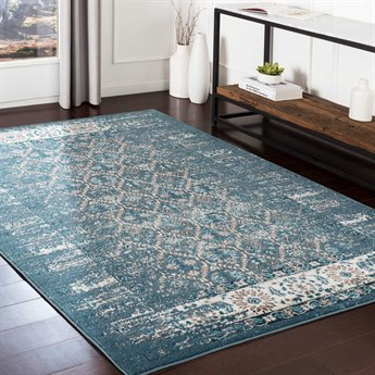 Surya Varanasi Dark Blue / Pale Camel Teal Medium Gray White Light Rectangular Area Rug
