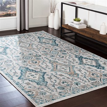 Surya Varanasi Teal / Pale Blue Dark Medium Gray Camel White Light Rectangular Area Rug