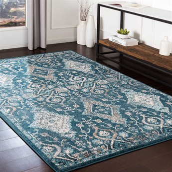 Surya Varanasi Pale Blue / Teal / Medium Gray Rectangular Area Rug
