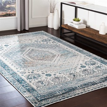 Surya Varanasi Medium Gray / Light Teal Pale Blue Dark Camel White Rectangular Area Rug