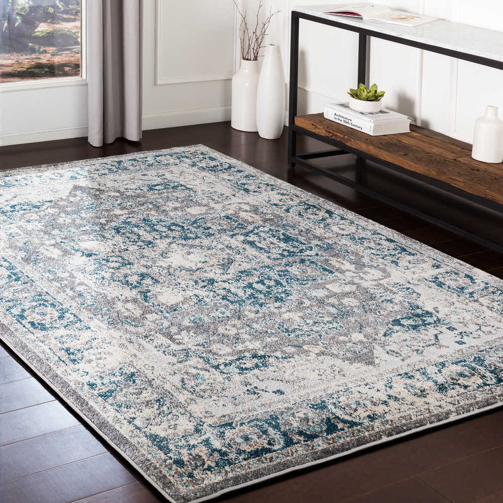 Surya Varanasi Dark Blue Pale Teal Camel Medium Gray Light White Rectangular Area Rug