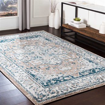 Surya Varanasi Pale Blue / Teal / Light Gray / White Rectangular Area Rug