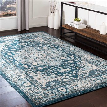Surya Varanasi Teal / Pale Blue / White / Light Gray Rectangular Area Rug