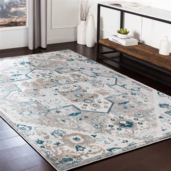 Surya Varanasi Camel / Teal / Light Gray / White Rectangular Area Rug