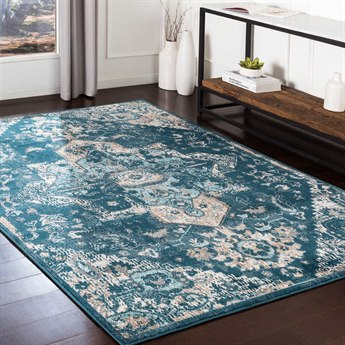Surya Varanasi Teal / Dark Blue / Camel / Light Gray Rectangular Area Rug