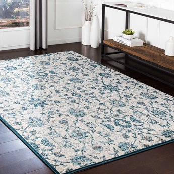 Surya Varanasi Teal / Pale Blue Medium Gray Light Camel White Rectangular Area Rug