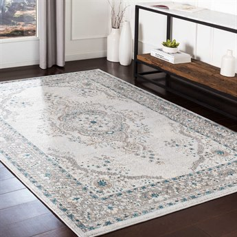Surya Varanasi Medium Gray / Camel / Blue Pale Rectangular Area Rug