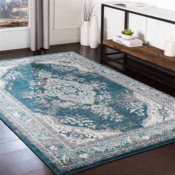Surya Varanasi Teal / Dark Blue Pale Camel Medium Gray Light White Rectangular Area Rug