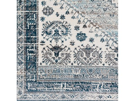 Surya Varanasi Medium Gray / Light Teal Pale Blue Dark Camel White Square Sample