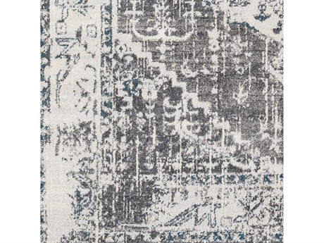 Surya Varanasi Light Gray / Medium Dark Blue Camel White Square Sample