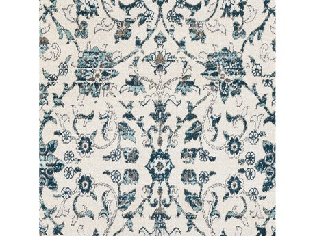 Surya Varanasi Teal / Pale Blue Medium Gray Light Camel White Square Sample