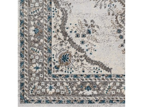 Surya Varanasi Medium Gray / Camel / Blue Pale Square Sample