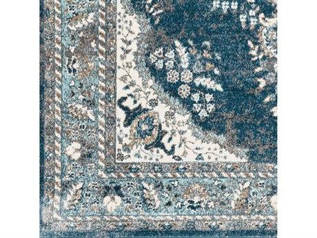 Surya Varanasi Teal / Dark Blue Pale Camel Medium Gray Light White Square Sample