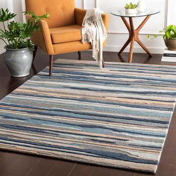 Surya Vernier Navy / Medium Gray Teal Mint Khaki Taupe Light Rectangular Area Rug