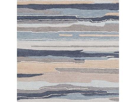Surya Vernier Navy / Medium Gray Teal Mint Khaki Taupe Light Square Sample