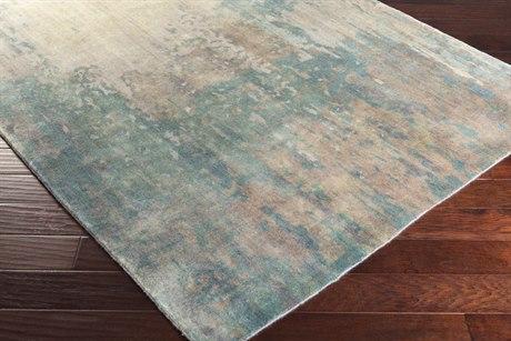 Surya Watercolor Rectangular Teal, Ivory & Camel Area Rug