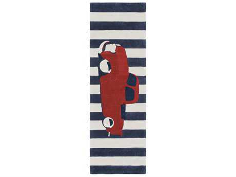 Surya Young Life 2'6'' x 8' Rectangular Bright Red, Navy & Khaki Runner Rug SYYGL7016RUN
