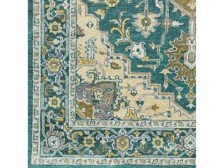 Surya Zeus Emerald / Olive Khaki Teal Aqua Dark Blue Purple Ivory Square Sample