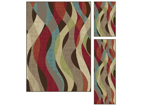 Tayse Rugs Deco Willow Brown Area Rug Set TADCO1013SET