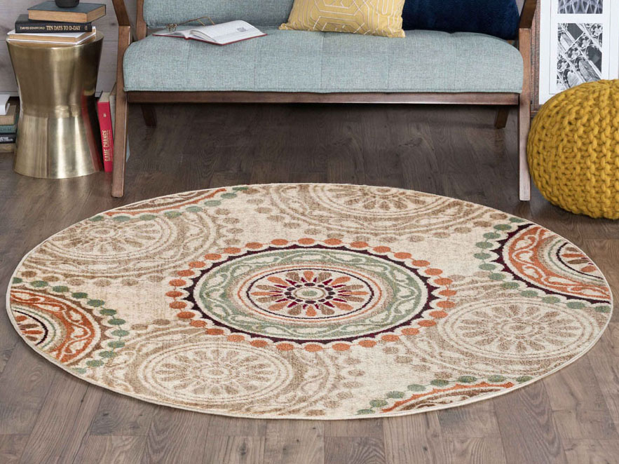 Marvelous Tayse Rugs Deco Cadence Ivory Round Area Rug Caraccident5 Cool Chair Designs And Ideas Caraccident5Info
