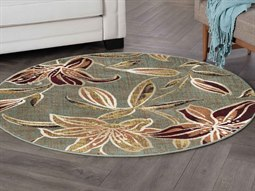 Rugs Deco Lily Seafoam Round Area Rug
