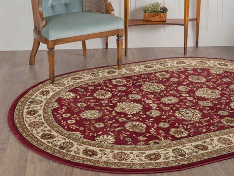Tayse Rugs Elegance Raleigh Red Oval Area Rug
