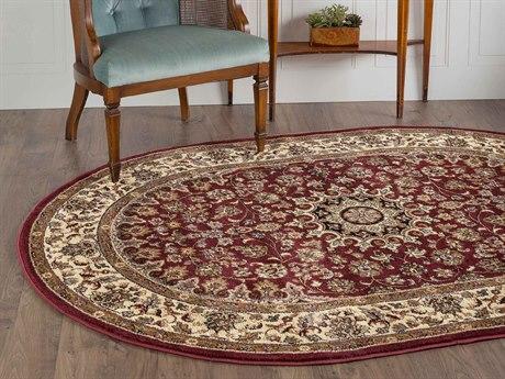Tayse Rugs Elegance Victoria Red Oval Area Rug TAELG5390OVA