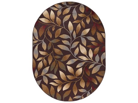 Tayse Rugs Elegance Katniss Brown Oval Area Rug