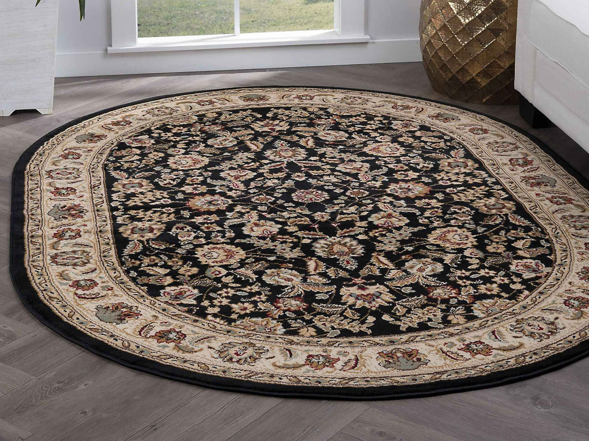 Image of: Tayse Rugs Laguna Lizbeth Black 5 3 X 7 3 Oval Area Rug Talgn5073ova