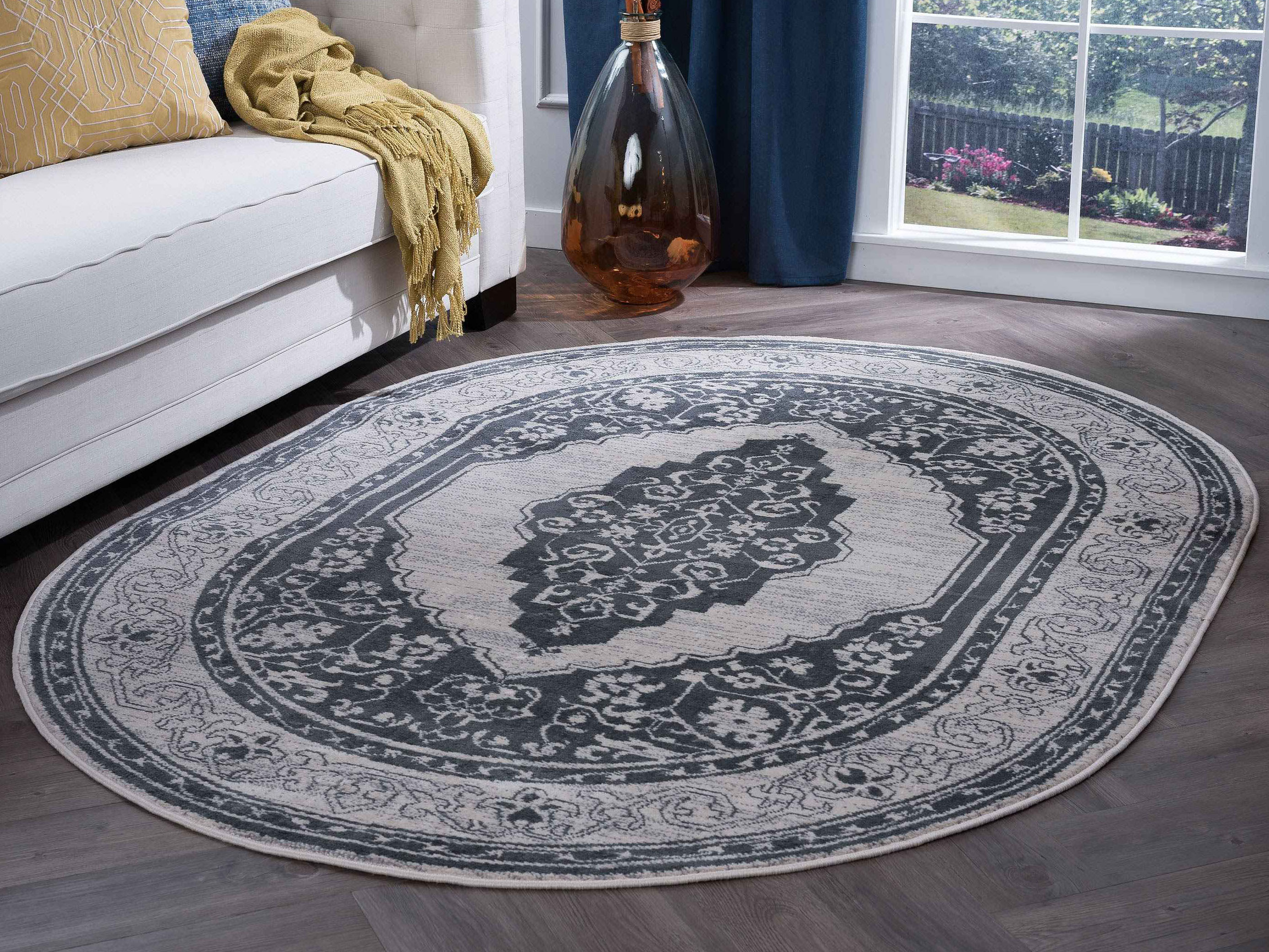 Image of: Tayse Rugs Madison Kerr Gray 5 3 X 7 3 Oval Area Rug Tamdn3209ova