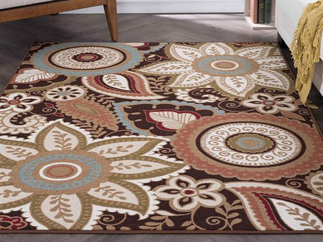 Tayse Rugs Majesty Zoey Brown Rectangular Area Rug