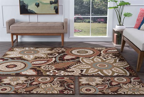 Tayse Rugs Majesty Zoey Brown Area Rug Set