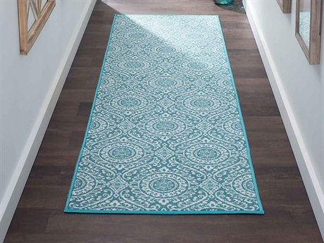 Tayse Rugs Majesty Chesterfield Teal Runner Rug