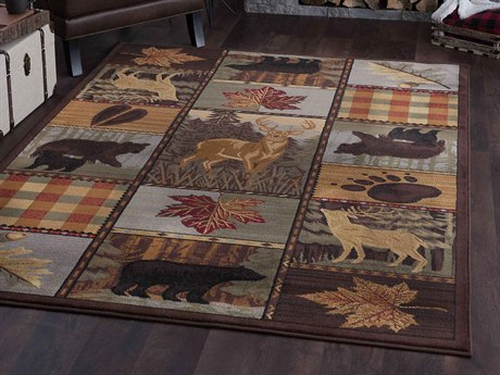 Tayse Rugs Nature Colorblock Wildlife Multi-Color Rectangular Area Rug