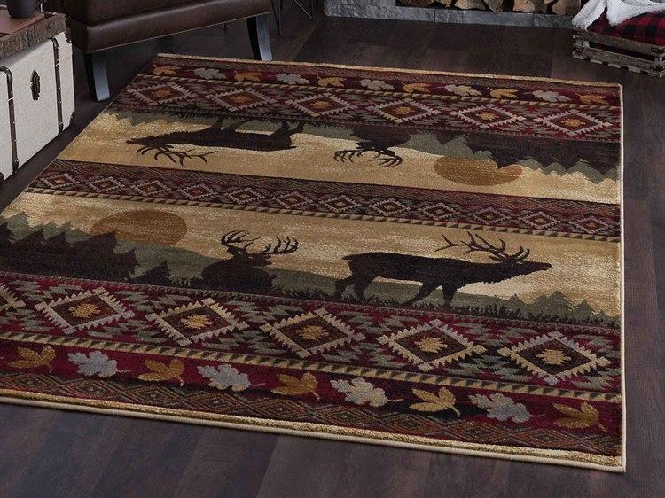 Misty Elk Red Rectangular Area Rug