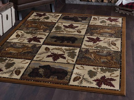 Tayse Rugs Nature Portrait Wildlife Beige Rectangular Area Rug