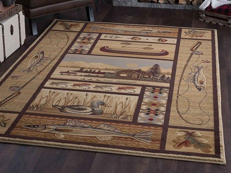 Tayse Rugs Nature Lodge Retreat Beige Rectangular Area Rug
