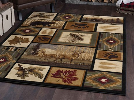 Tayse Rugs Nature Northern Wildlife Multi-Color Rectangular Area Rug