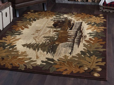 Tayse Rugs Nature Oak Deer Brown Rectangular Area Rug