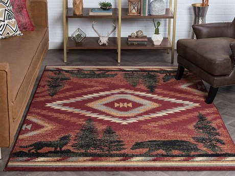 Tayse Rugs Nature Colorblock Wildlife Red Rectangular Area Rug
