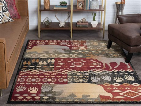 Tayse Rugs Nature Fly Fishing Multi-Color Rectangular Area Rug