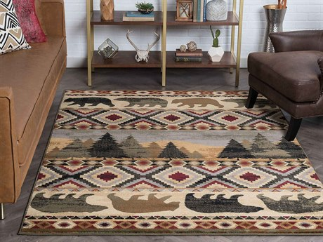 Tayse Rugs Nature Homespun Cabin Multi-Color Rectangular Area Rug