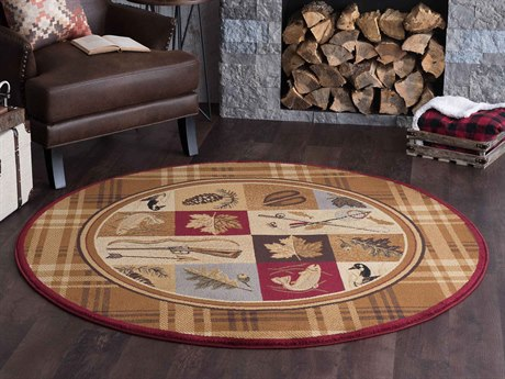 Tayse Rugs Nature Plaid Outdoors Brown Round Area Rug