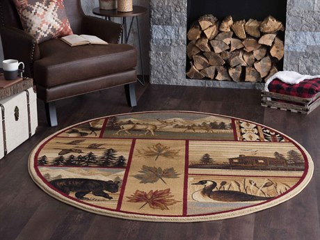 Tayse Rugs Nature Scenic Wildlife Multi-Color Round Area Rug TANTR6650ROU