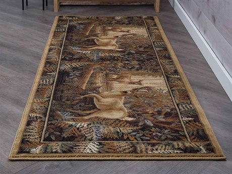 Tayse Rugs Nature Fern Deer Beige Runner Rug